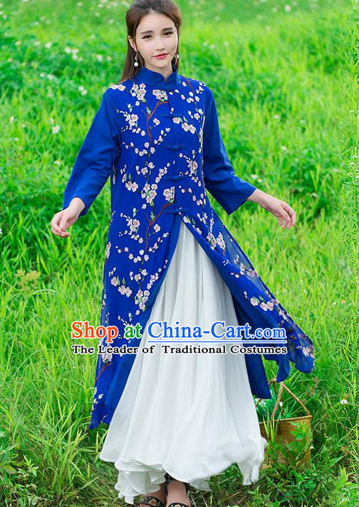 Traditional Ancient Chinese National Costume, Elegant Hanfu Stand Collar Embroidered Blue Double-deck Coat Robes, China Tang Suit Plated Buttons Cape, Upper Outer Garment Dust Coat Clothing for Women