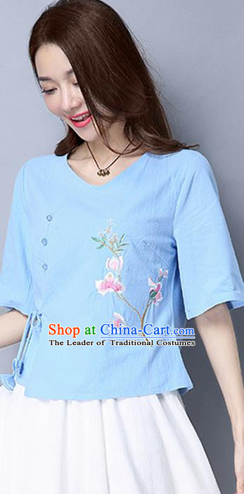 Traditional Chinese National Costume, Elegant Hanfu Embroidered Flowers Slant Opening Blue T-Shirt, China Tang Suit Republic of China Chirpaur Blouse Cheong-sam Upper Outer Garment Qipao Shirts Clothing for Women