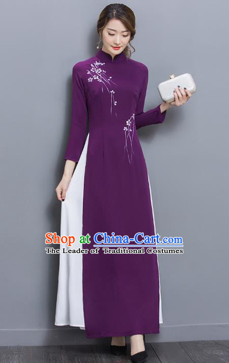 Traditional Ancient Chinese National Costume, Elegant Hanfu Mandarin Qipao Purple Ao Dai Dress, China Tang Suit Chirpaur Republic of China Cheongsam Upper Outer Garment Elegant Dress Clothing for Women