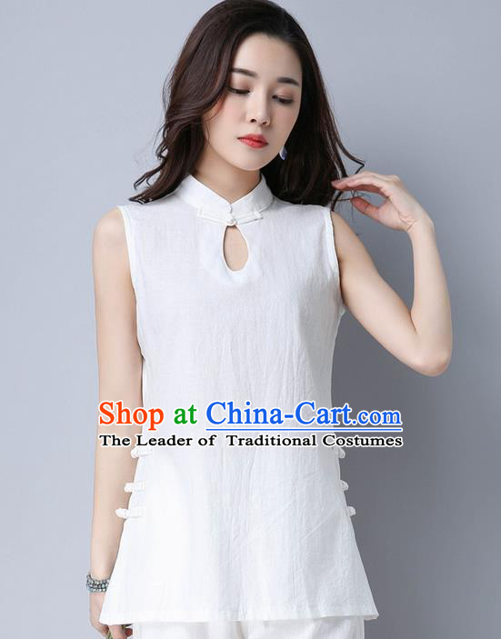 Traditional Chinese National Costume, Elegant Hanfu Linen White Vests, China Tang Suit Cheongsam Upper Outer Garment Elegant Waistcoat Clothing for Women