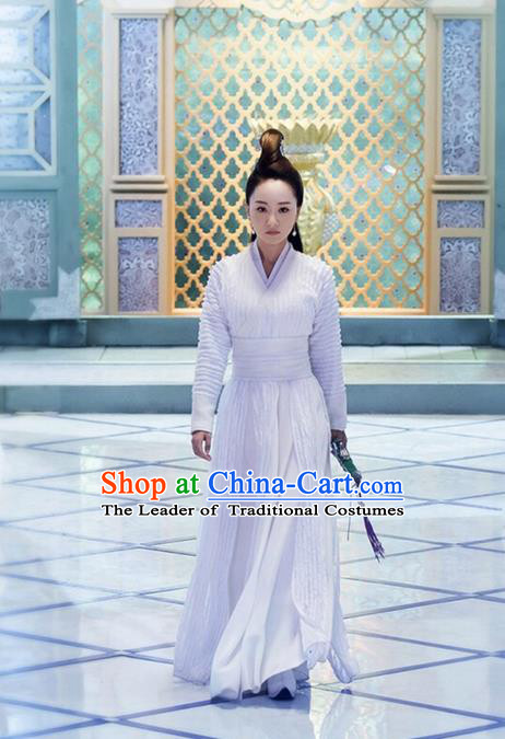 Traditional Ancient Chinese Chivalrous Swordswoman Costume, Chinese Ming Dynasty Heroine Dress, Cosplay Chinese Television Drama Flying Daggers Princess Hanfu Clothing for Women