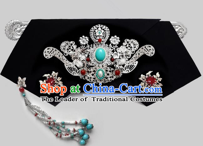 Traditional Ancient Chinese Imperial Consort Hair Jewellery Accessories, Chinese Qing Dynasty Manchu Palace Lady Headwear Zhen Huan Big La fin Tassel Headpiece, Chinese Mandarin Imperial Concubine Flag Head Hat Decoration Accessories for Women
