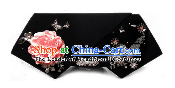 Traditional Ancient Chinese Hair Jewellery Accessories, Chinese Qing Dynasty Manchu Palace Lady Headwear Zhen Huan Big La fin Pink Peony Flowers Headpiece, Chinese Mandarin Imperial Concubine Flag Head Hat Decoration Accessories for Women