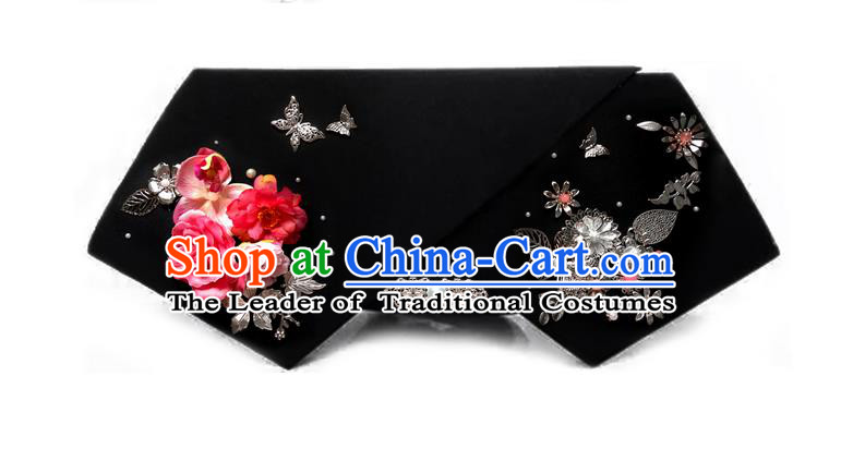 Traditional Ancient Chinese Hair Jewellery Accessories, Chinese Qing Dynasty Manchu Palace Lady Headwear Zhen Huan Big La fin Flowers Headpiece, Chinese Mandarin Imperial Concubine Flag Head Hat Decoration Accessories for Women