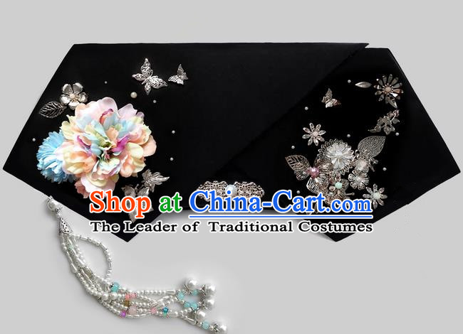Traditional Ancient Chinese Imperial Consort Hair Jewellery Accessories, Chinese Qing Dynasty Manchu Palace Lady Headwear Zhen Huan Big La fin Pearls Tassel Headpiece, Chinese Mandarin Imperial Concubine Flag Head Hat Decoration Accessories for Women