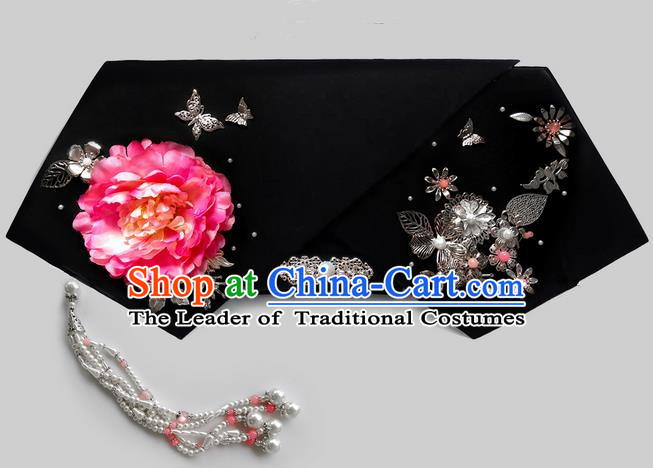 Traditional Ancient Chinese Hair Jewellery Accessories, Chinese Qing Dynasty Manchu Palace Lady Headwear Zhen Huan Big La fin Pink Flowers Beads Tassel Headpiece, Chinese Mandarin Imperial Concubine Flag Head Hat Decoration Accessories for Women