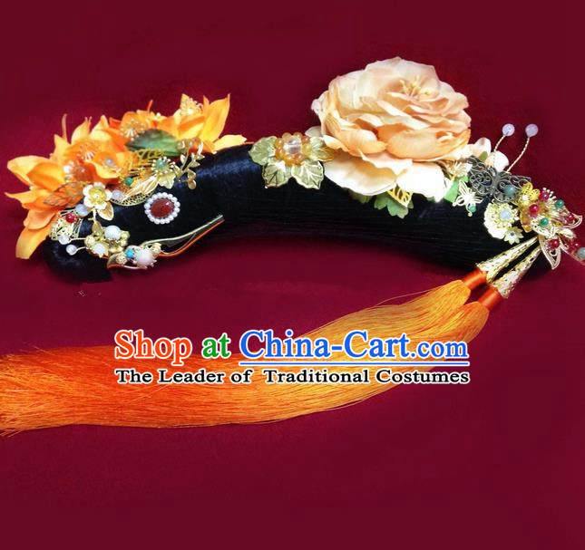 Traditional Ancient Chinese Imperial Consort Hair Jewellery Accessories, Chinese Qing Dynasty Manchu Palace Lady Wig and Zhen Huan Big La fin Headpiece Complete Set, Chinese Mandarin Imperial Concubine Flag Head Hat Decoration Accessories for Women