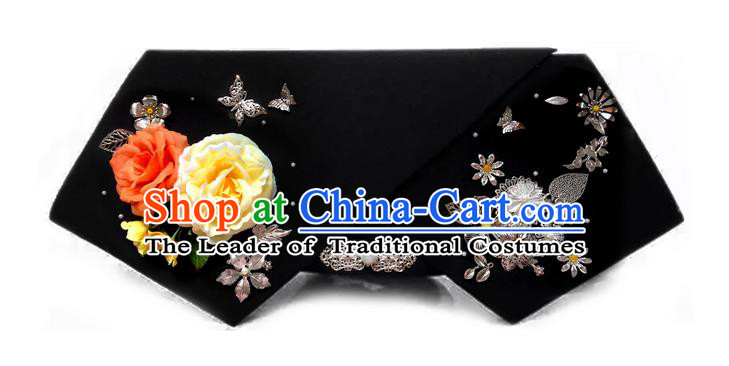 Traditional Ancient Chinese Hair Jewellery Accessories, Chinese Qing Dynasty Manchu Palace Lady Headwear Zhen Huan Big La fin Yellow Flowers Headpiece, Chinese Mandarin Imperial Concubine Flag Head Hat Decoration Accessories for Women