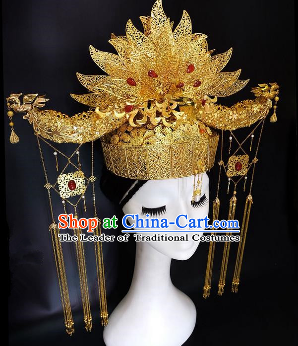 Traditional Handmade Chinese Ancient Classical Hair Accessories Bride Wedding Barrettes Phoenix Coronet Complete Set, Empress Hair Sticks Hair Jewellery, Hair Fascinators Hairpins for Women