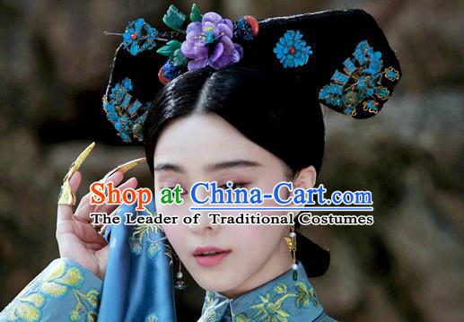 Traditional Ancient Chinese Imperial Consort Hair Accessories, Chinese Handmade Qing Dynasty Manchu Palace Lady Headwear and Wig Big La fin Headpiece, Chinese Mandarin Imperial Concubine Flag Head Hat Decoration Accessories for Women