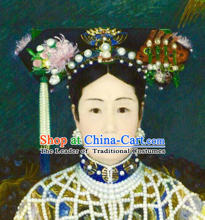 Traditional Ancient Chinese Hair Jewellery Accessories, Chinese Qing Dynasty Manchu Palace Lady Headwear and Wigs Empress Dowager Cixi Big La fin Headpiece, Chinese Mandarin Flag Head Hat Decoration Accessories for Women