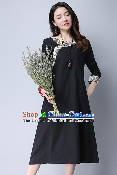 Traditional Ancient Chinese National Costume, Elegant Hanfu Printing Slant Opening Black Dress, China Tang Suit Cheongsam Garment Elegant Dress Clothing for Women
