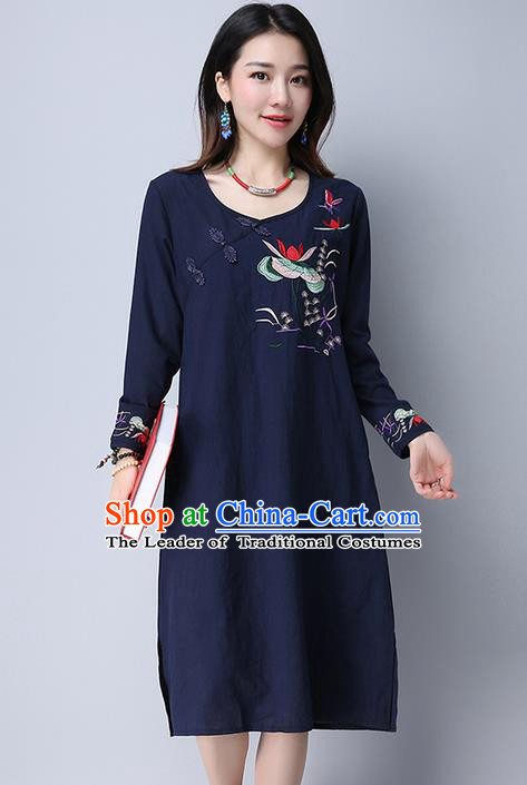 Traditional Ancient Chinese National Costume, Elegant Hanfu Embroidered Slant Opening Blue Dress, China Tang Suit Plated Buttons Cheongsam Garment Elegant Dress Clothing for Women