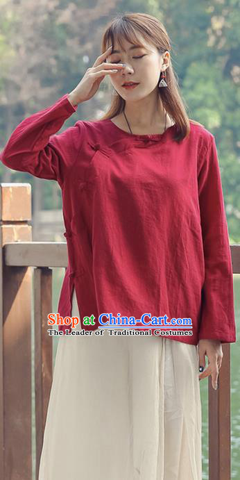 Traditional Chinese National Costume, Elegant Hanfu Linen Slant Opening Red T-Shirt, China Tang Suit Plated Buttons Chirpaur Blouse Round Collar Cheong-sam Upper Outer Garment Qipao Shirts Clothing for Women