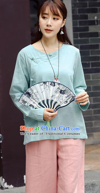 Traditional Chinese National Costume, Elegant Hanfu Linen Slant Opening Blue T-Shirt, China Tang Suit Plated Buttons Chirpaur Blouse Round Collar Cheong-sam Upper Outer Garment Qipao Shirts Clothing for Women