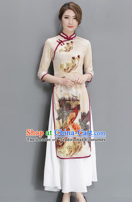 Traditional Ancient Chinese National Costume, Elegant Hanfu Mandarin Qipao Printing White Dress, China Tang Suit Stand Collar Cheongsam Upper Outer Garment Elegant Dress Clothing for Women