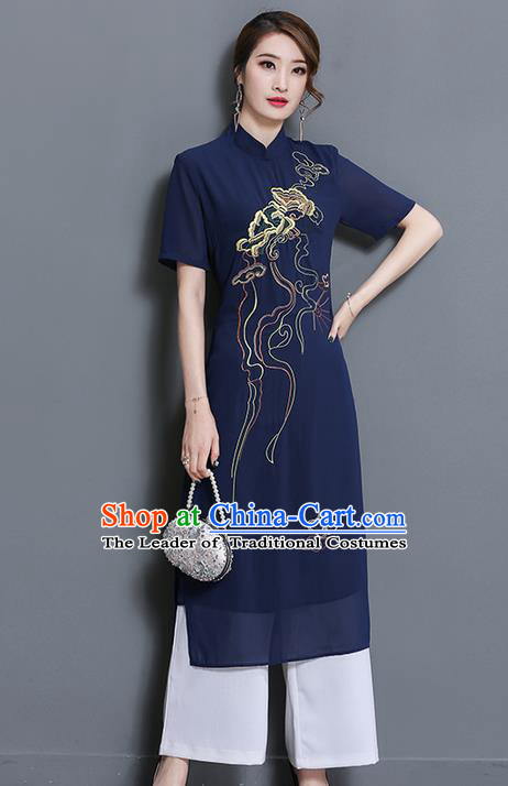 Traditional Ancient Chinese National Costume, Elegant Hanfu Mandarin Qipao Embroidered Navy Dress and White Loose Pants Complete Set, China Tang Suit Cheongsam Upper Outer Garment Elegant Dress Clothing for Women