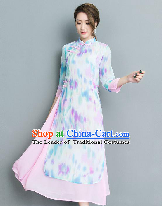 Traditional Ancient Chinese National Costume, Elegant Hanfu Mandarin Qipao Printing Stand Collar Big Swing White Dress, China Tang Suit Cheongsam Upper Outer Garment Elegant Dress Clothing for Women