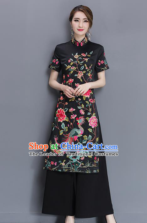Traditional Ancient Chinese National Costume, Elegant Hanfu Mandarin Qipao Embroidered Black Dress and Loose Pants Complete Set, China Tang Suit Cheongsam Upper Outer Garment Elegant Dress Clothing for Women