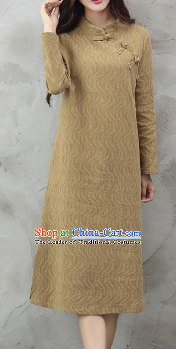 Traditional Chinese National Costume, Elegant Hanfu Brown Slant Opening Dress, China Tang Suit Chirpaur Cheongsam Garment Elegant Dress Clothing for Women