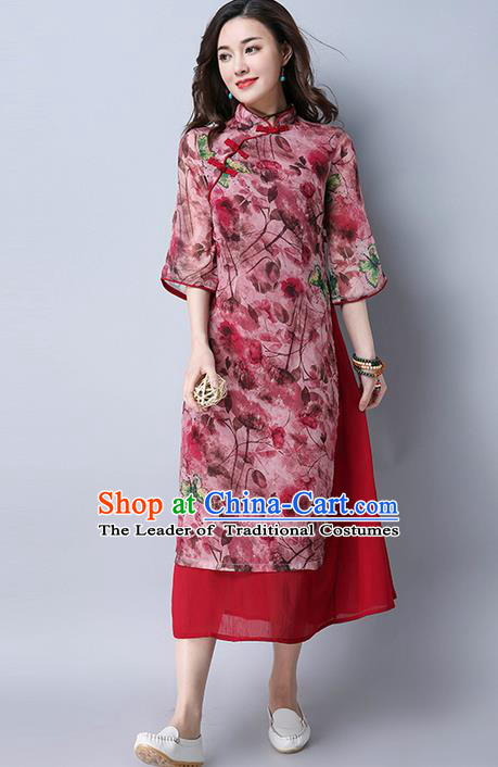 Traditional Ancient Chinese National Costume, Elegant Hanfu Mandarin Qipao Stand Collar Printing Red Dress, China Tang Suit Improved Cheongsam Upper Outer Garment Elegant Dress Clothing for Women