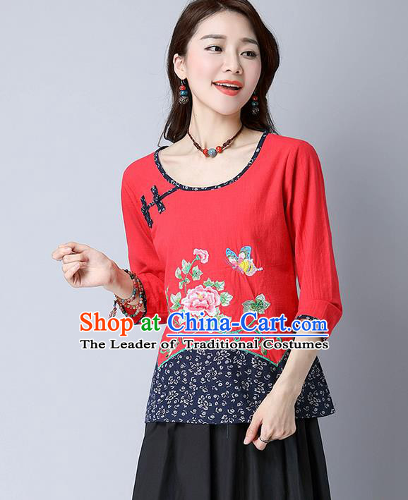 Traditional Chinese National Costume, Elegant Hanfu Embroidery Flowers Round Collar Red T-Shirt, China Tang Suit Plated Buttons Chirpaur Blouse Cheong-sam Upper Outer Garment Qipao Shirts Clothing for Women