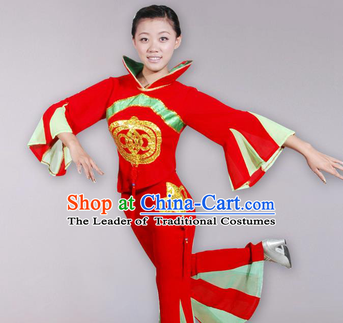 Traditional Chinese Yangge Fan Dancing Costume, Folk Dance Yangko Costume Drum Dance Mandarin Sleeve Clothing for Women