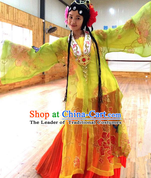 Traditional Chinese Ancient Peking Opera Diva Water Sleeve Dancing Costume, Classical Folk Dance Costume Drum Dance Clothing for Women