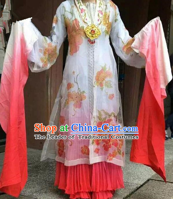 Traditional Chinese Ancient Peking Opera Diva Long Water Sleeve Dancing Costume Complete Set, Classical Folk Dance Costume Drum Dance Clothing for Women