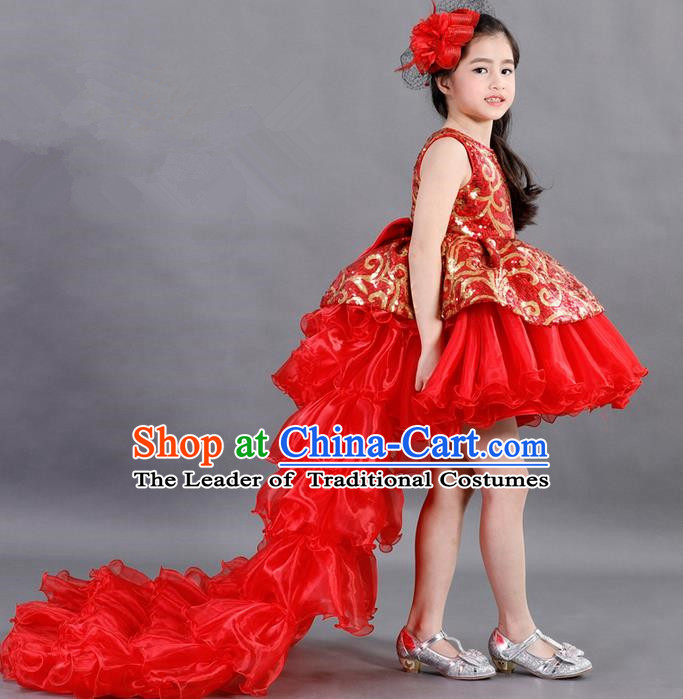 Traditional Chinese Modern Dancing Compere Costume, Children Opening Classic Chorus Singing Group Dance Paillette Uniforms, Modern Dance Classic Dance Red Trailing Dress for Girls Kids