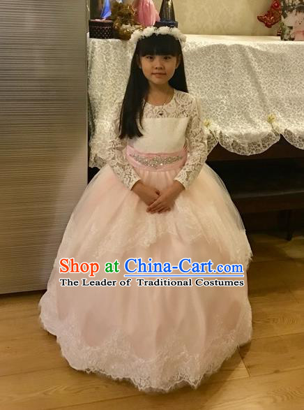 Traditional Chinese Modern Dancing Performance Costume, Children Opening Classic Chorus Singing Group Dance Uniforms, Modern Dance Classic Dance Pink Trailing Dress for Girls Kids