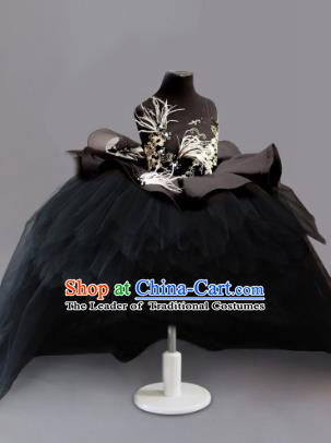 Traditional Chinese Modern Dancing Compere Costume, Children Opening Classic Chorus Singing Group Dance Embroidery Feather Dress, Modern Dance Classic Dance Black Bubble Dress for Girls Kids
