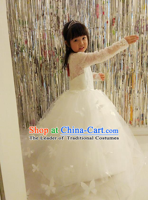 Traditional Chinese Modern Dancing Compere Performance Costume, Children Opening Classic Chorus Singing Group Dance Veil Evening Dress, Modern Dance Classic Dance White Trailing Dress for Girls Kids