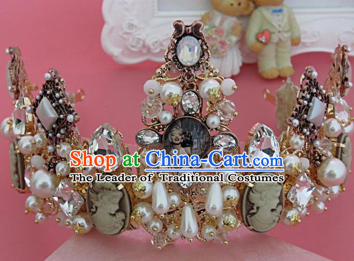 Top Grade Handmade Chinese Classical Hair Accessories, Children Baroque Style Headband Pearl Princess Royal Crown Coronet, Hair Sticks Hair Jewellery, Hair Clasp for Kids Girls