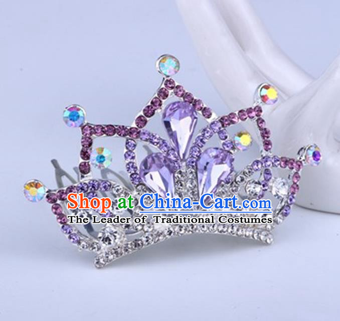 Top Grade Handmade Chinese Classical Hair Accessories, Children Baroque Style Headband Princess Royal Crown Purple Rhinestone Imperial Crown, Hair Sticks Hair Jewellery, Hair Clasp for Kids Girls