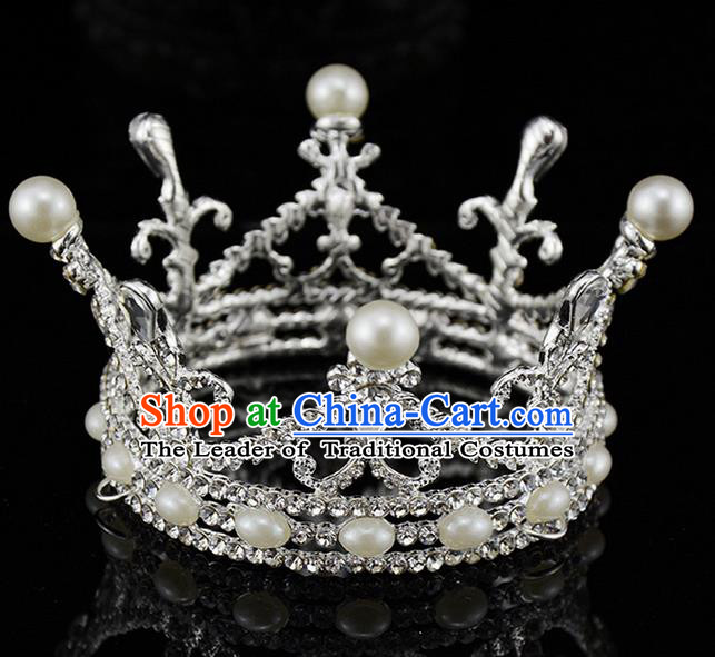 Top Grade Handmade Chinese Classical Hair Accessories, Children Baroque Style Headband Princess Royal Crown Pearl Rhinestone Round Imperial Crown, Hair Sticks Hair Jewellery, Hair Clasp for Kids Girls