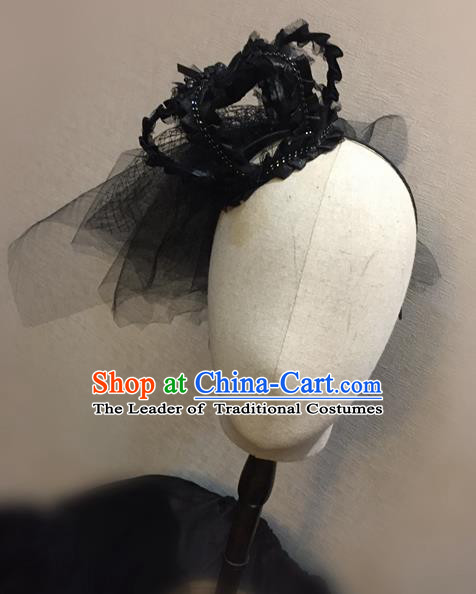 Top Grade Handmade Chinese Classical Hair Accessories, Children Baroque Style Headband Princess Black Royal Crown, Hair Sticks Hair Jewellery, Hair Clasp for Kids Girls