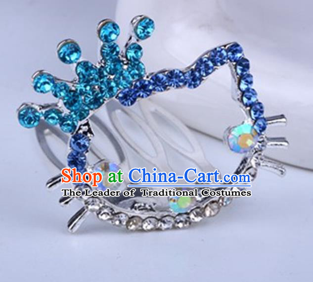 Top Grade Handmade Chinese Classical Hair Accessories, Children Baroque Style Headband Princess Blue Rhinestone Royal Crown, Hair Sticks Hair Jewellery, Cartoon Hair Clasp for Kids Girls