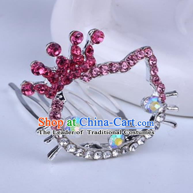 Top Grade Handmade Chinese Classical Hair Accessories, Children Baroque Style Headband Princess Rose Rhinestone Royal Crown, Hair Sticks Hair Jewellery, Cartoon Hair Clasp for Kids Girls