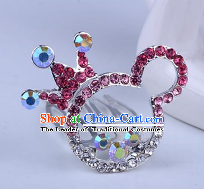 Top Grade Handmade Chinese Classical Hair Accessories, Children Baroque Style Headband Princess Pink Rhinestone Cute Royal Crown, Hair Sticks Hair Jewellery, Cartoon Hair Clasp for Kids Girls