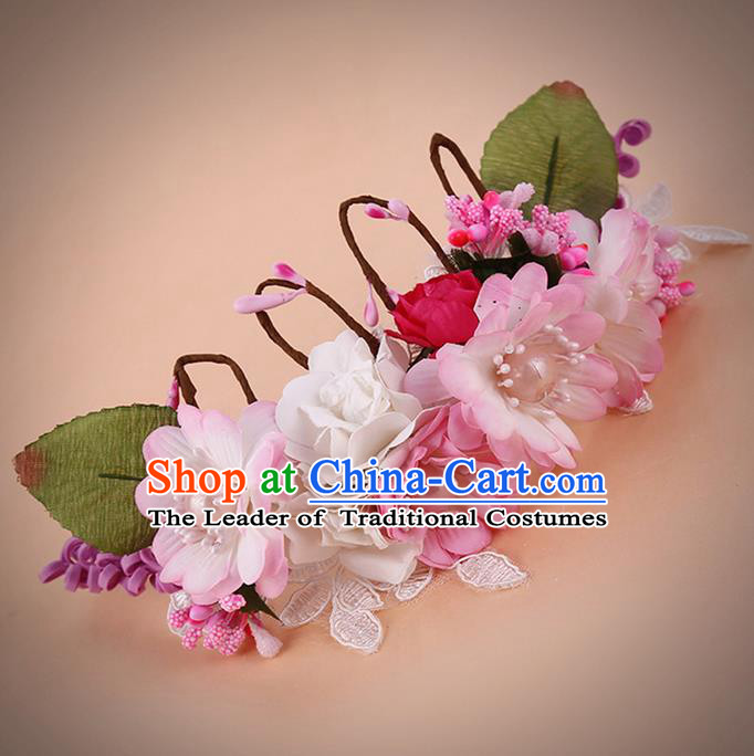 Top Grade Handmade Chinese Classical Hair Accessories, Children Baroque Style Headband Pearl Flowers Princess Crown, Hair Sticks Hair Jewellery Hair Clasp for Kids Girls