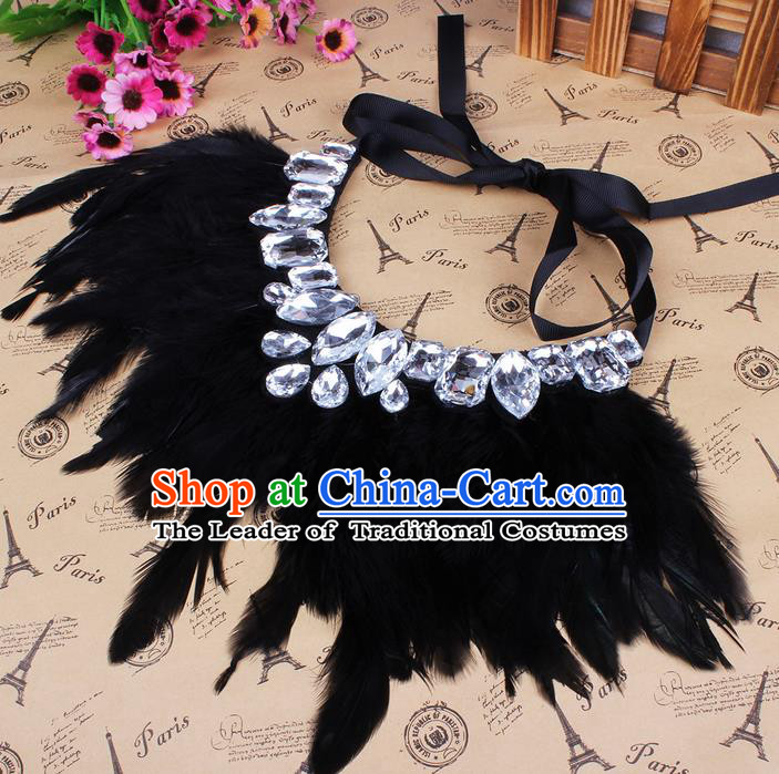 Top Grade Handmade Chinese Classical Accessories, Children Baroque Style Necklace, Full Dress Black Feather Torques Collar for Kids Girls