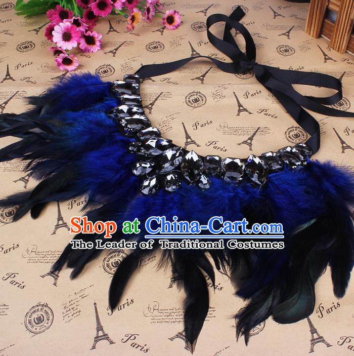 Top Grade Handmade Chinese Classical Accessories, Children Baroque Style Necklace, Full Dress Blue Feather Torques Collar for Kids Girls