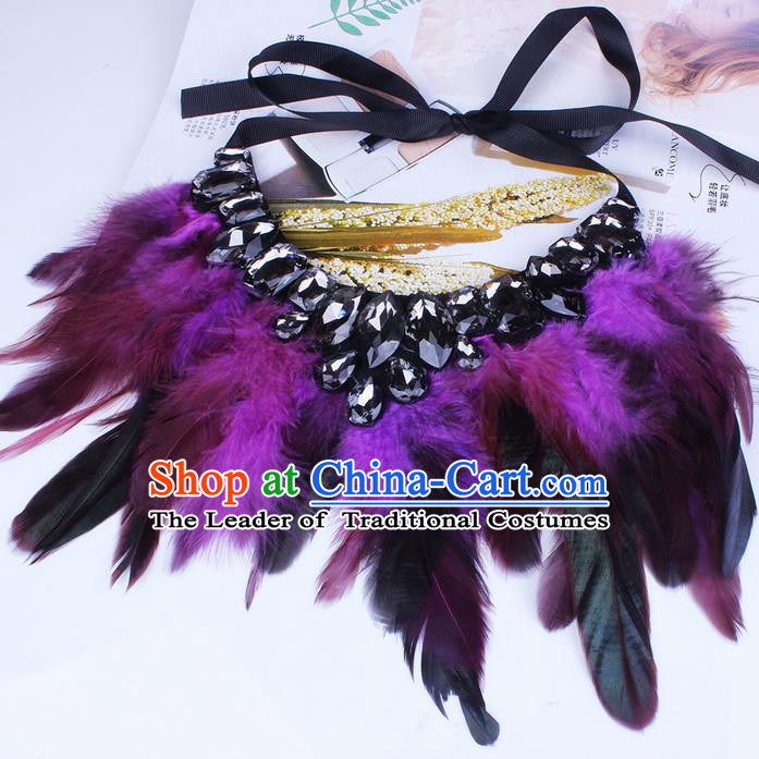 Top Grade Handmade Chinese Classical Accessories, Children Baroque Style Necklace, Full Dress Purple Feather Torques Collar for Kids Girls