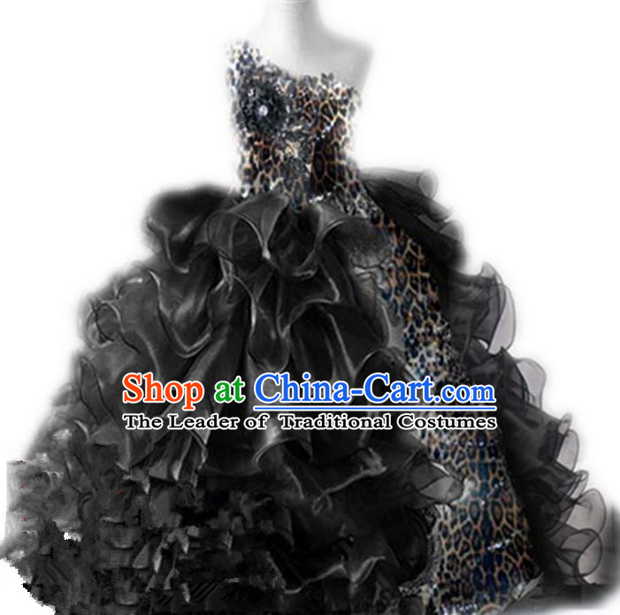 Traditional Chinese Modern Dancing Compere Performance Costume, Children Opening Classic Chorus Singing Group Dance Princess Black Leopard Long Bubble Full Dress, Modern Dance Halloween Party Dress for Girls Kids