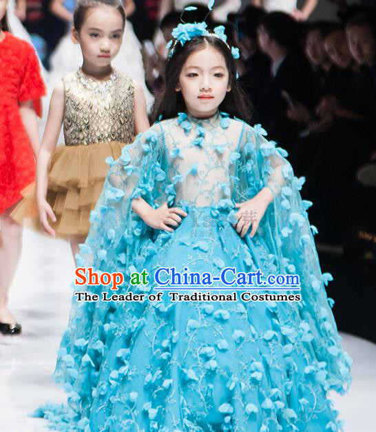 Traditional Chinese Modern Dancing Compere Performance Costume, Children Opening Classic Chorus Singing Group Dance Princess Blue Long Bubble Full Dress, Modern Dance Halloween Party Dress for Girls Kids