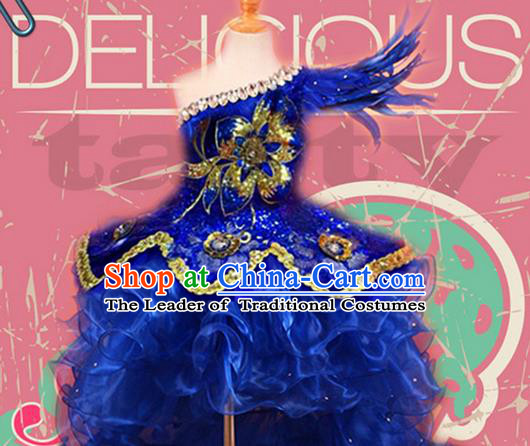 Traditional Chinese Modern Dancing Compere Performance Costume, Children Opening Classic Chorus Singing Group Dance Princess Blue Long Trailing Bubble Full Dress, Modern Dance Halloween Party Dress for Girls Kids