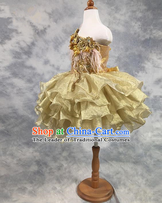 Traditional Chinese Modern Dancing Compere Costume, Children Opening Classic Chorus Singing Group Dance Princess Golden Paillette Full Dress, Modern Dance Classic Dance Bubble Dress for Girls Kids