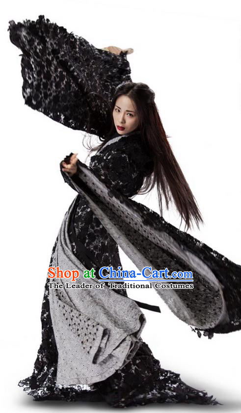 Traditional Ancient Chinese Elegant Female Swordsman Costume, Chinese Ancient Swordswoman Black Robe Dress, Cosplay Chinese Emprise Film Sword Master Chivalrous Expert Chinese Ming Dynasty Kawaler Hanfu Clothing for Women