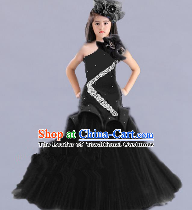 Traditional Chinese Modern Dancing Compere Performance Costume, Children Opening Classic Chorus Singing Group Dance Princess Black Fishtail Full Dress, Modern Dance Classic Dance Dress for Girls Kids